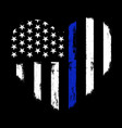 love thin blue line - police officer vector image vector image