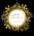 Merry Christmas and New Year gold snow wreath vector image vector image