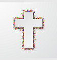 modern cross with confetti on white vector image vector image