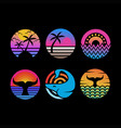 ocean sunset circle vector image