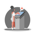 old woman have troudle by using atm vector image