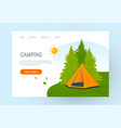 orange tent among trees in flat style vector image