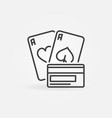 pair aces with credit card outline icon vector image