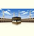 panoramic kaaba for hajj steps in al-haram vector image