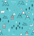 seamless winter hand drawn pattern with snow vector image