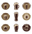 set of beer emblems on white background beer mugs vector image