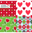 Set of four simple seamless patterns vector image vector image
