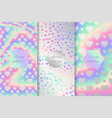 set of holographic backgrounds with hearts vector image vector image