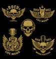 set rock and roll emblemswinged rock guitar vector image vector image