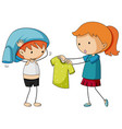 sister helping brother getting dressed vector image vector image