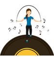 sport woman jumping rope vinyl disk music vector image