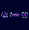 standup show signs neon comedy club and open vector image vector image