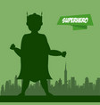 superhero man cartoon on city silhouette vector image