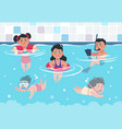 swimming kids cartoon happy children in a pool vector image vector image