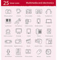 Thin line multimedia and electronics icons set