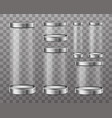 transparent glass cylinder capsule showcase vector image vector image