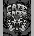 two skull helmet cafe racer vector image