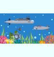 underwater submarines boats vector image vector image