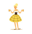 pretty blonde waitress in bavarian traditional vector image