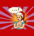 angry santa girl vector image vector image