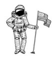 astronaut or spaceman soaring with usa flag vector image vector image