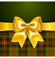 Background with yellow ribbon bow vector image vector image
