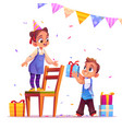 birthday girl receive gift from boy party event vector image vector image