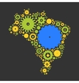 Brasil map silhouette mosaic of cogs and gears vector image vector image