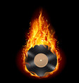 burning vinyl record with fiery notes bright on vector image