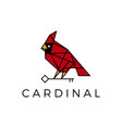 cardinal bird key geometric polygonal line logo vector image