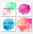 cards design template with watercolor effect vector image vector image