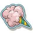 cartoon cotton candy sticker icon vector image