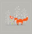 cartoon fun little foxes fox with heart- flower vector image vector image