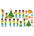 christmas boy poses set black afro vector image vector image