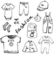 clothes for baboy set hand drawn sketch vector image