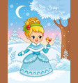 cute princess in a cartoon style in snow forest vector image