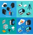 Data Center 2x2 Isometric Icons Set vector image vector image