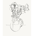 digital sketch drawing of flower vector image vector image