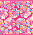 doodle flowers on a pink background colorful vector image vector image