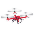 drone quadrocopter isolated on white realistic vector image vector image