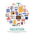flat beach vacation concept vector image