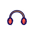 flat color earmuff icon vector image