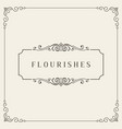 flourishes frame vintage ornament greeting card vector image vector image