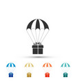 gift box flying on parachute icon isolated vector image vector image