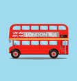london city bus on blue background vector image vector image