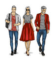 man and two woman models vector image