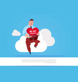man holding heart sit on white cloud over blue vector image