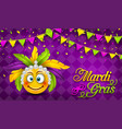 mardi gras carnival party banner lettering vector image vector image