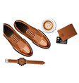 men leather accessories on white background vector image vector image