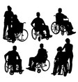 people on crutch and wheelchair silhouettes vector image vector image